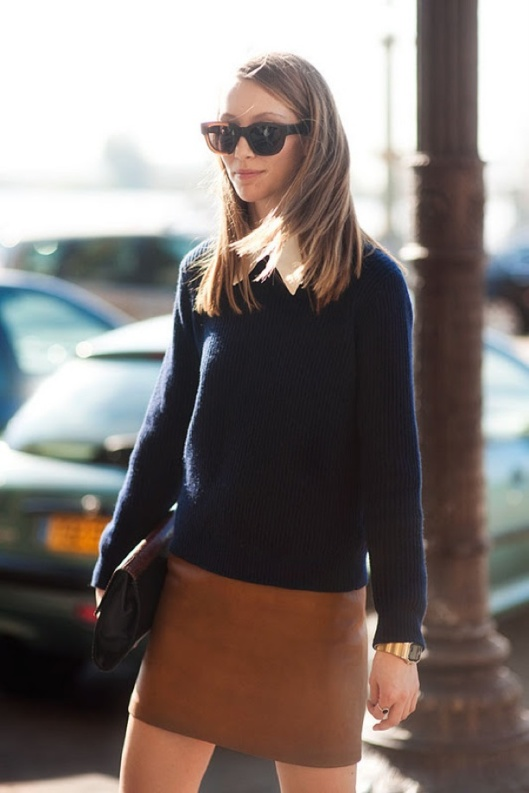 VANESSA-JACKMAN-ALANA-ZIMMER-BROWN-TAN-LEATHER-SKIRT-WHITE-COLLARED-SHIRT-RIBBED-NAVY-DARK-BLUE-SWEATER-KNIT-GOLD-WATCH-PYTHON-CLUTCH-OVERSIZED-SUNGLASSES-FASHION-WEEK-STREET-STYLE