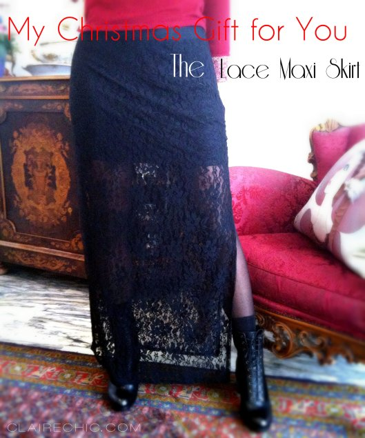 black LACE maxi SKIRT, christmas gift,