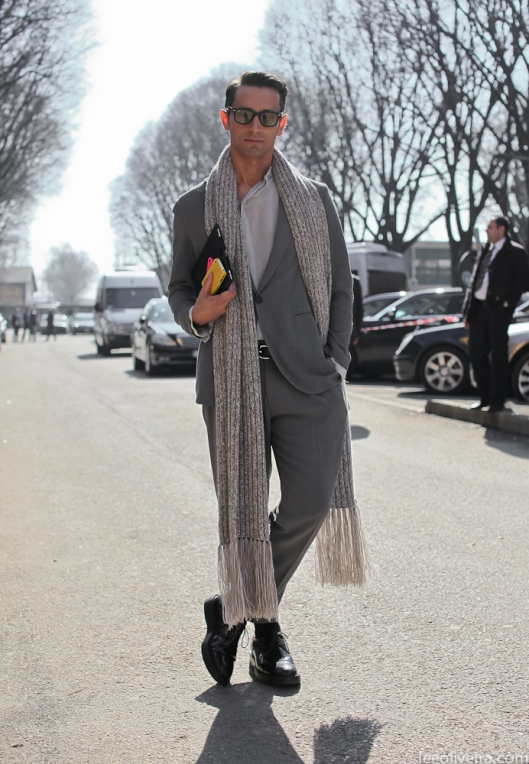 Simone-Marchetti-Grey-suit-scarf-men-style-streetstyle-lookbook-sunglasses