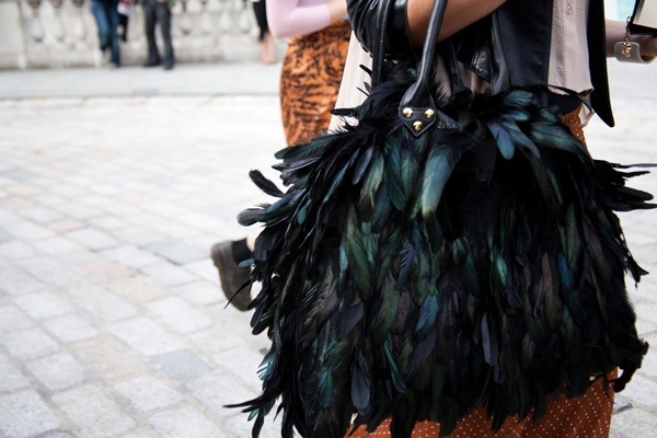 bag, feathers, street style, black