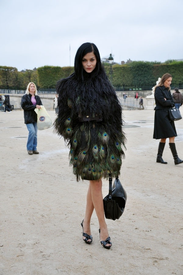 feathers, peacock, black, street style, trend