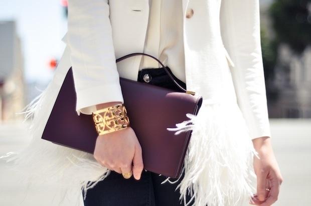 feathers, jacket, white, street style