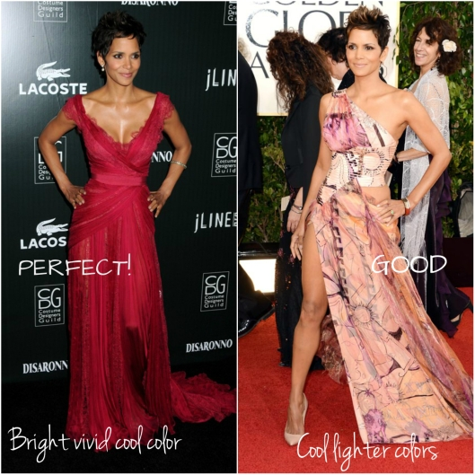 Halle looks great in the vivid cherry dress while the colors of printed one look a bit weak for her image