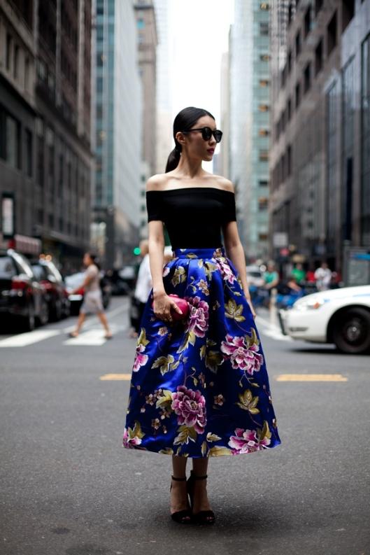 off sholder top ankle length floral skirt cobalt blue diesel black gold new york street style new york fashion week spring 2014 september 2013 ponytail