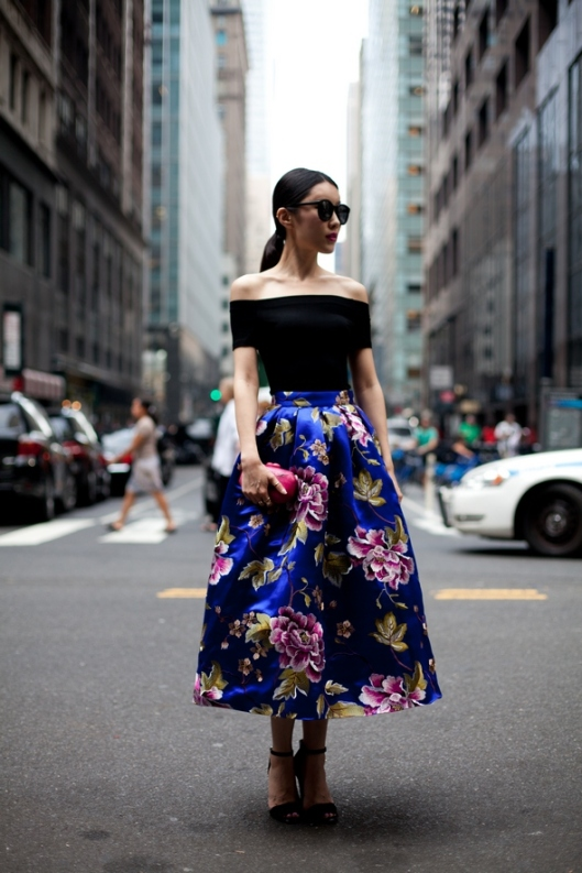 off sholder top ankle length floral skirt cobalt blue diesel black gold new york street style new york fashion week spring 2014 september 2013 ponytail