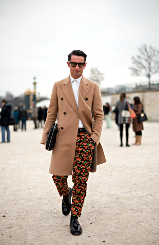 Paris+Fashion+Month+Street+Style+Men+Simone+Marchetti- red floral print pants- mens