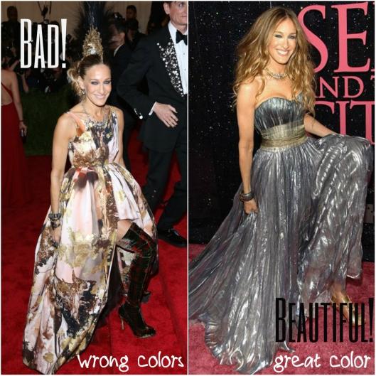 The dress on the left with warm earth colors is definitely a no no for here, but she looks great in silver. Il vestito sulla sinistra non è per niente adatto a lei con colori caldi sul marrone, ma il vestito argentato è perfetto