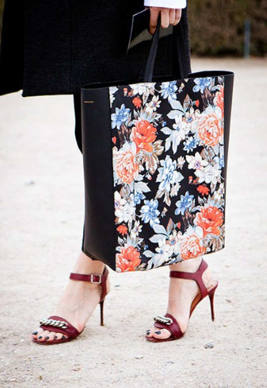 street style details- -paris fashion week autumn winter 2012- floral print tote