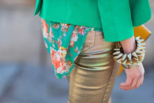 gold pants street style