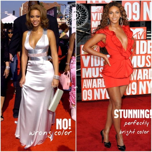 The dusty lavander dress is terribly in contrast with Beyonce's complexion  while th