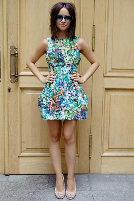 Miroslava-Duma-in-Zara-Spring-2011-floral-print-bubble-skirt-dress