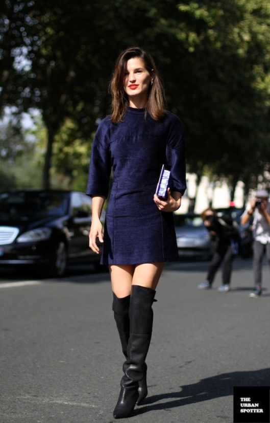 PFW STREET STYLE SHIFT DRESSES OVER THE KNEE BOOTS 1