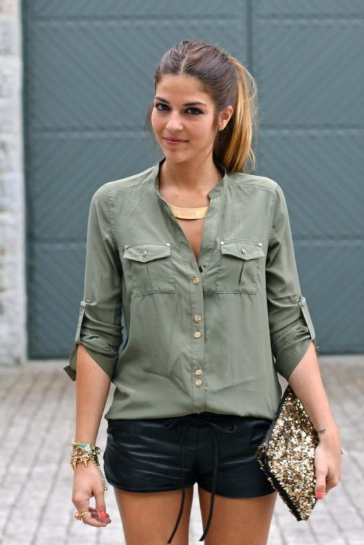 leather-shorts-and-army-green-shirt